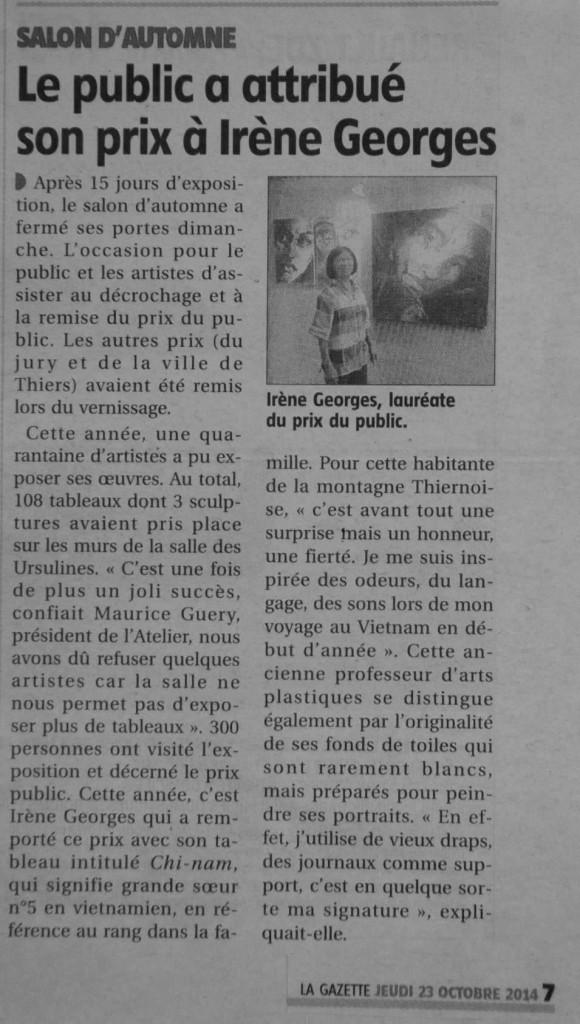 article La Gazette - 23 octobre 2014